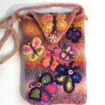 Colourful embellished felt bag. Phone bag. Small tablet bag. Butterflies. unique