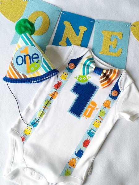 Monster Boys Personalized Bow Tie, Suspenders, Name & Number 1 Onesie