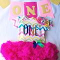 Girls First Birthday Rainbow Tutu Dress and Matching Flower Headband