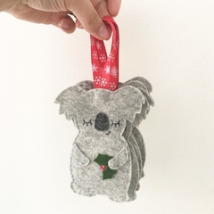 Sleepy speckled grey koala Christmas decoration, Australian animal, Aussie