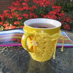 Yellow mug cozy, coffee cosy, cup warmer, Easter, birthday, teacher gift