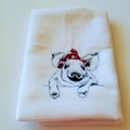 Embroidered Pig with rockabilly bow on kitchen tea towel