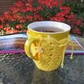 Yellow mug cozy, coffee cosy, cup warmer, Easter, birthday, teacher gift