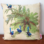 Vintage Retro Australian Blue Wrens Cushion