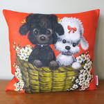 Vintage Retro Cute Poodle Dogs Cushion