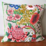 Vintage Retro Australian Waratah & Wildflowers Cushion
