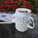 Aqua mug cozy, coffee cosy, cup warmer, birthday, Christmas, teacher gift