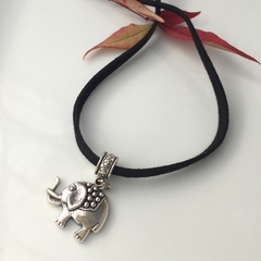 Luck Cute Elephant Silver-Tone Pendant on Suede Leather Cord Choker.