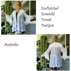 White Lace & Chiffon Boho Wedding or Casual Jacket - Size 14 - 16