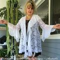 White Lace & Chiffon Boho Wedding or Casual Jacket - Size 14 - 16