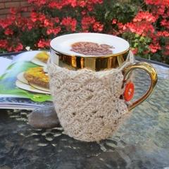 Tan mug cozy, coffee cosy, cup warmer, Christmas, birthday, teacher gift, unisex