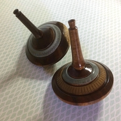 Pair of 'Argentea' Hand Turned Spinning Tops (Items A 095 a and b)
