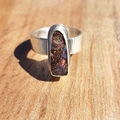 Boulder opal silver ring, sml to med size AU O1/2, wide band
