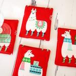 Christmas llama coasters