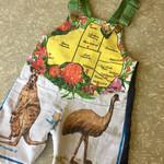 Overalls Romper Size 1 Kangaroo Emu Australia denim recycled vintage tea towel