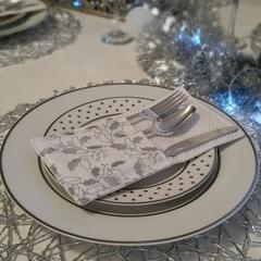 Silver Mistletoe Christmas Cutlery Holders | Set of 4 | Table Decoration