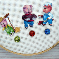Three Little Pigs  Magnetic Needle Minder, Needle Nanny, Cross Stitch, Embroider