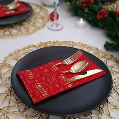 Red & Gold Merry Christmas Cutlery Holders | Set of 4 |  Table Decoration