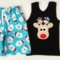 Shorts - Tossed Santa - Retro - Boys - Christmas - Red - White - Blue