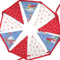Christmas Red / Green Candy Cane & Gingerbread House Flag Bunting - Decoration