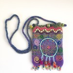 Unique embellished felt crossbody pouch. Colourful with dreamcatcher theme.