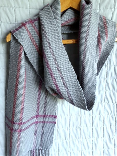 Woman's Long Scarf, Pure Wool, Hand Woven, Grey