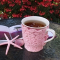 Pink mug cozy, coffee cosy, cup warmer,  birthday, Mum, Christmas, teacher gift