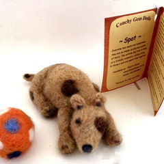 Needle felted dog, OOAK felt dog, prim art animal, folk art doll, polkadot ball,