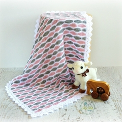 Dusty Pink, Grey & White Newborn Hand Crocheted Baby Blanket