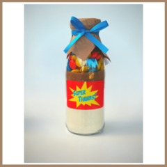 SUPER HERO BLUE Cookie Mix a bottle. Unique Party Favour. Makes 6 cookies