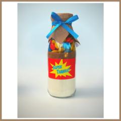 SUPER HERO BLUE Cookie Mix a bottle. Unique Party Favour. Makes 6 cookies