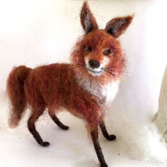 Needle felted red fox, posable felt animal, fox totem, handmade, soft art sculpt