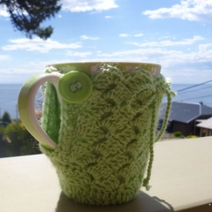 Lime mug cozy, coffee cosy, cup warmer, birthday, Christmas, teacher gift, Mum