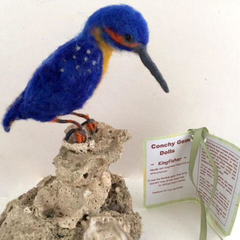Needle felted bird, Australian kingfisher, poseable art doll, soft sculpture, an