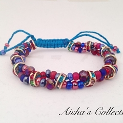 Adjustable Beaded Bracelet - Ruby Red and Cobalt Blue