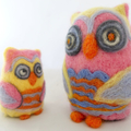 Needle felted owls, mother and baby owls, pink birds, unique gift, home decor