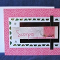 Scorpio Girl on Pink Floral Birthday Card with Green Gems