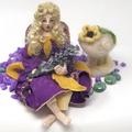 Art doll, bendable fairy doll, cloth elf, OOAK handmade, needle felted mushroom,