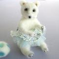 Needle felt polar bear, ballerina art doll, needle felted animal, Polar Dancer,