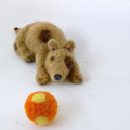 Needle felted dog, OOAK felt dog, prim art animal, folk art doll, polkadot ball,