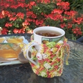 Mug cozy, coffee cosy, cup warmer | trendy multicolours | birthday, teacher gift