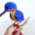 Needle felted bird, Australian kingfisher, poseable art doll, soft sculpture, an