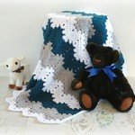 Chunky Teal, Grey & White Chevron Newborn Hand Crocheted Baby Blanket