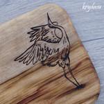 Wood Burnt Crane Camphor Laurel Cutting Board