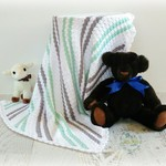 Mint, Grey & White Newborn Hand Crocheted Baby Blanket