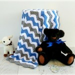Grey, Blue & White Chevron Newborn Hand Crocheted Chevron Baby Blanket