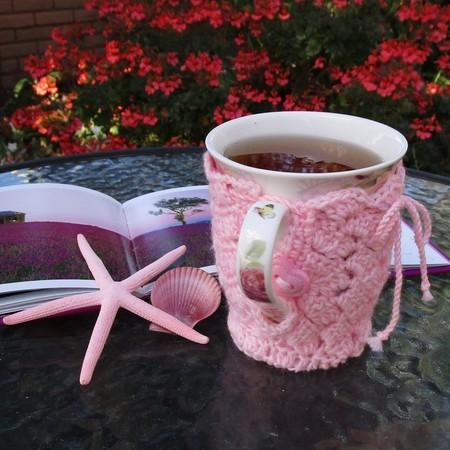 Pink mug cozy, coffee cosy, cup warmer,  birthday, Mum, Christmas, teacher gift