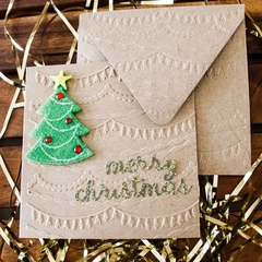 Funky embossed Christmas card with matching envelope - set of 5