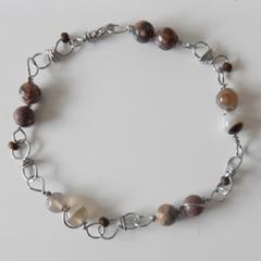 Men's linked bracelet stones white Onyx & Jasper