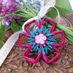 Boho Ornament Paper Raffia Floral Hanging Decoration Gift Tag Set of 6